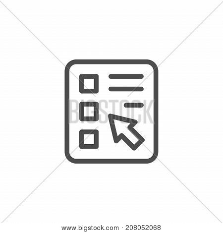 Online survey line icon isolated on white. Vector illustration