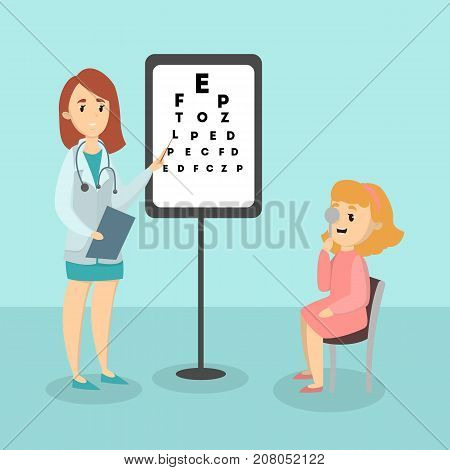 Kid with ophthalmologist checking eyesight in the ward.