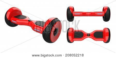 Three view of red hover board,  dual wheel self balancing scooter. 3d rendering of rose self-balancing board, isolated on white background.