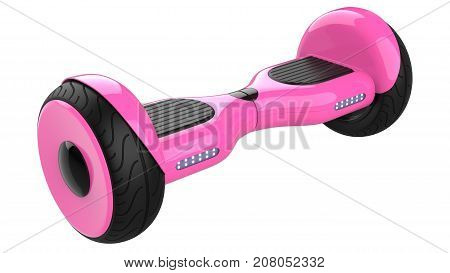Pink hover board,  dual wheel self balancing scooter. 3d rendering of rose self-balancing board, isolated on white background.