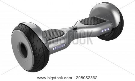 Close up of hover board, dual wheel self balancing electric smart mini Scooter, painted grey metallic . 3d rendering of silver self-balancing board, isolated on white background.