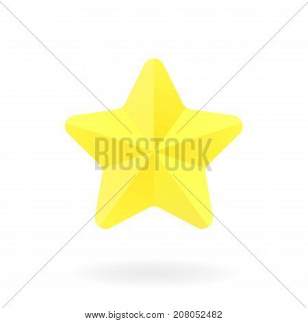 Yellow star with shadow. Vector icon. Golden shiny star. Flat illustration.
