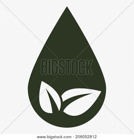 Eco water drop vector icon. Ecological symbol.