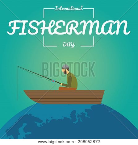 International Fisherman Day. Fisherman sitting in the boat conceptual illustration vector.