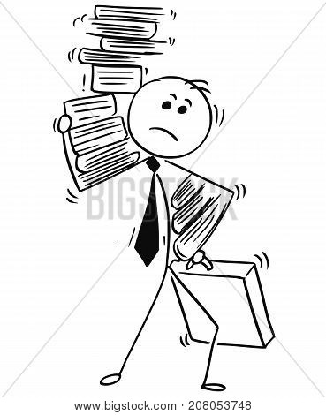 Businessman Carry Load Of Paper Work Folders