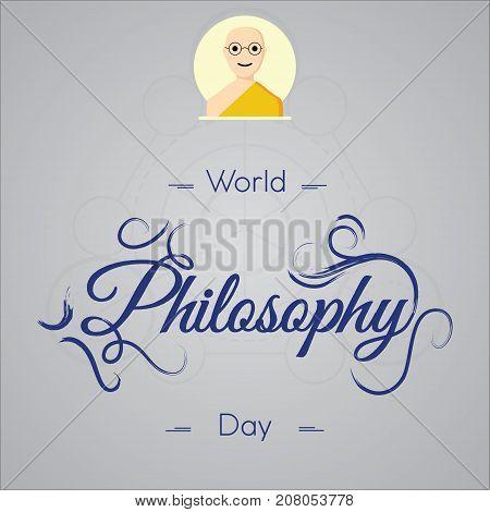 World Philosophy Day, November. Buddhist man spiritual concept illustration vector.