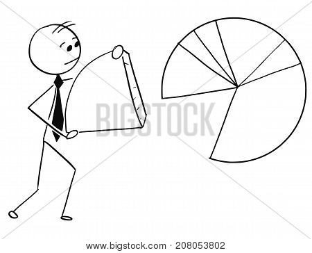 Businessman Carry Piece Of Pie Chart Graph