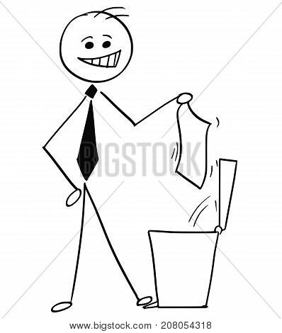 Smiling Businessman Throwing Paper In Trash Can