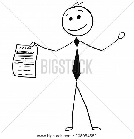 Smiling Businessman Holding Piece Sheet Of Paper Agreement