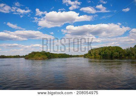 Bank of Oka River (Volga tributary) in Ryazan region. Russia