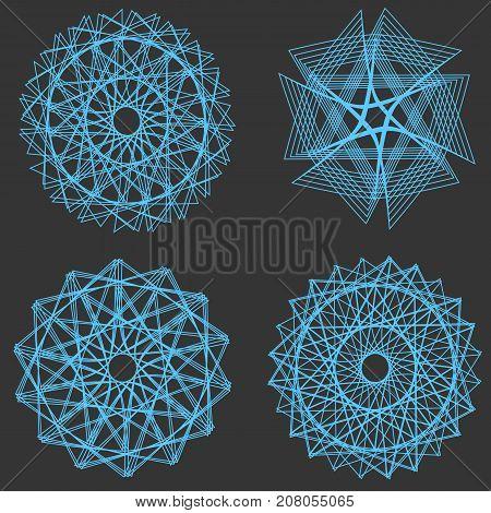 Set of vector spirograph multipurpose elements on a black background. Vector illustration