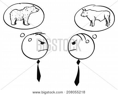 Cartoon stick man illustration of two businessman arguing about bull and bearish market. poster