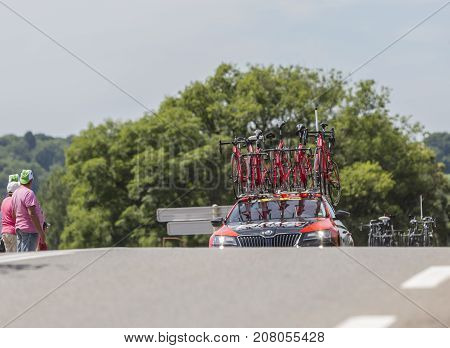 Mailleroncourt-Saint-Pancras France - July 5 2017: The technical car of BMC Team approaching on a road to La Planche des Belle Filles during the stage 5 of Tour de France 2017.