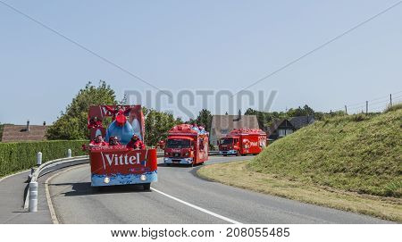 Sainte Marguerite sur Mer France - July 09 2015: Vittel Caravan during the passing of Publicity Caravan before the stage 6 of Le Tour de France 2015 on 09 July 2015. Vittel is a French bottled water brand.