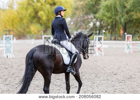 Young rider woman on bay horse warming up before advanced dressage test at equestrian competition. Equestrian event background with copy space