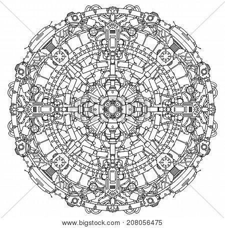 Round Ornamental Techno Mechanical Sci-fi Mandala Pattern.