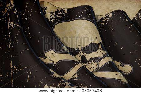 Pirates Jawless Skull And Bones Waving Flag Old Paper