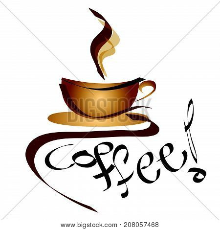 coffee sign - logo cup of coffee - vector illustration