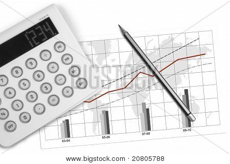 Calculator, Pencil And Economic Graphic
