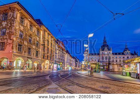 GRAZ, AUSTRIA - JULI 17, 2017: Street view of Herrengasse and townhall  in Graz, Austria.Old town of Graz is the UNESCO World heritage.
