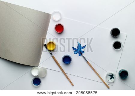 School and office supplies on a white background. creation. side view. close-up