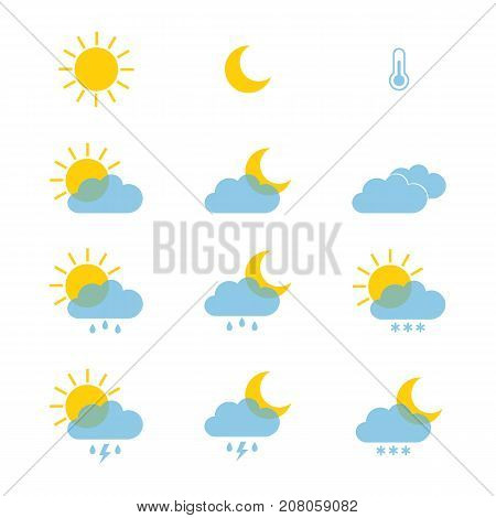 Set of weather icons for web or mobile. Vector illustration eps10