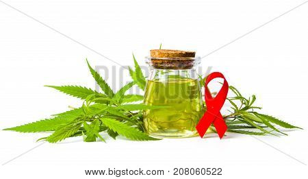 Cannabis Oil And Cancer Awareness Ribbon Isolated