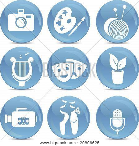shiny vector icons as symbols of arts