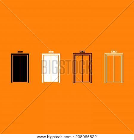 Elevator Doors Black And White Set Icon.