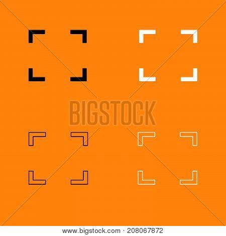 Symbol Full Screen Black And White Set Icon.