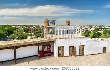 Ancient residence of Emir at the Ark Fortress in Bukhara, Uzbekistan. Central Asia