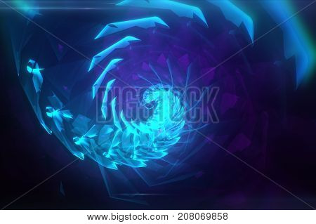 Blue Abstract Hypnotic Background. Twisting Spiral 3D Illustration