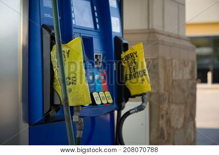 MIAMI USA SEPTEMBER 07 2017: Gas pump depleted. Hurricane Irma storm Florida caused shortage of gasoline at the stations. Fuel station is out of service due to lack of fuel.