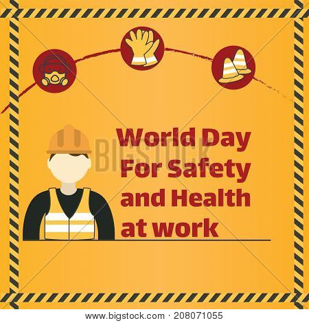 World Day of Safety and Health at Work, 28 April. Construction worker wearing helmet conceptual illustration vector.