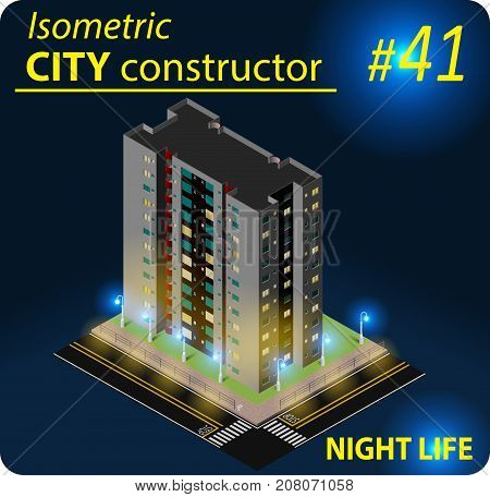 Isometric residential building in night light. Illustration of urban or rural houses and dwellings. For your infographic, city, map, business design. Detailed vector clip art with easy editable colors
