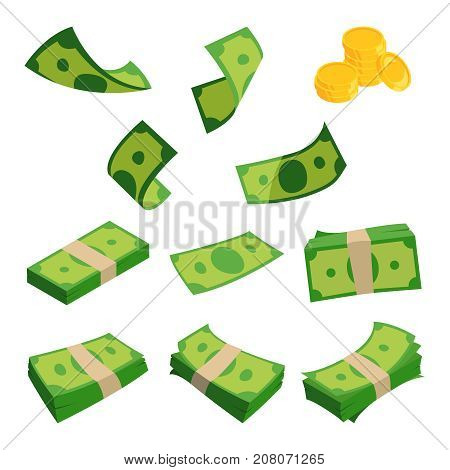 Bundles of dollars isolated on white background. Different banknotes set. Money cash and finance stack. Vector illustration
