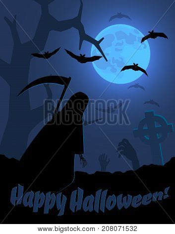 halloween creepy poster with a moonlit landscape