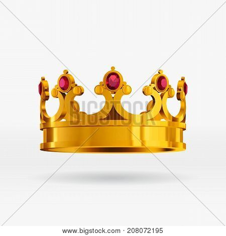 Vector realistic gold crown with gems. Isolated royal gold crown with gemstones