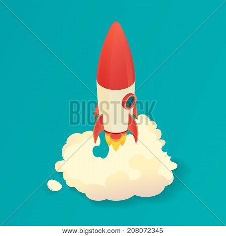 Isometric rocket launch. Start up rocket ship. Vector illustration