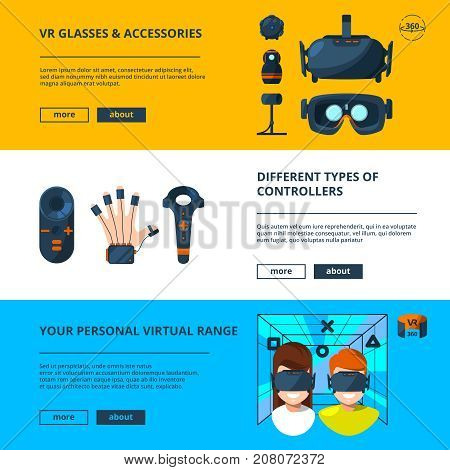 Three horizontal banners set with vector illustrations of virtual reality with future technology. Virtual reality device futuristic