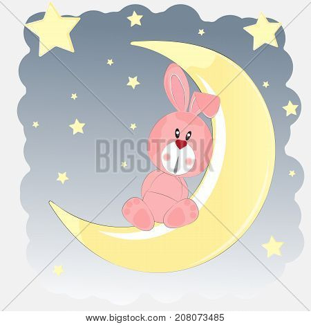 Happy hare who sits on the moon. Greeting card. Vector illustartion.