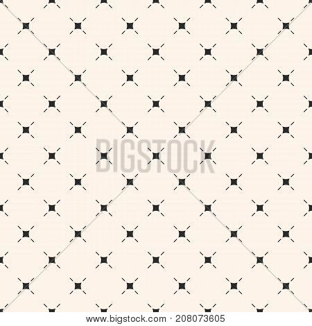 Vector minimalist background. Simple modern geometric seamless pattern with small thin lines, squares, diagonal grid, repeat tiles. Subtle abstract texture. Design for decor, textile, fabric, cloth. Diagonal grid background.