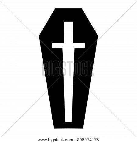 Symbol, icon, silhouette, coffin style image. Illustration for Halloween. Vector illustration Hand drawing
