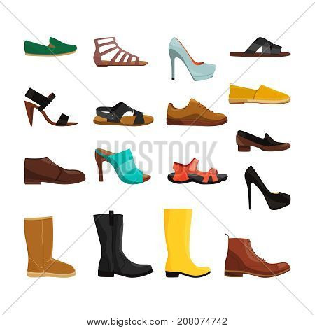 Different casual shoes of men and women. Vector pictures set. Fashion footwear and boots woman and man illustration