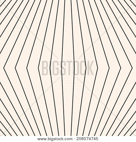 Vector stripes pattern. Geometric seamless texture with thin refracted lines. Abstract monochrome striped background. Subtle repeat design element for decoration,  textile, fabric, wrapping. Stripes background. Lines background. Seamless background.