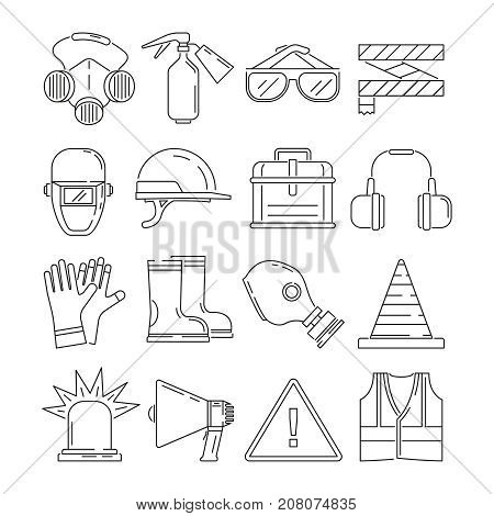 Symbols of safety work. Protection for health occupations. Vector illustrations in linear style. Safety protection equipment and protect professional