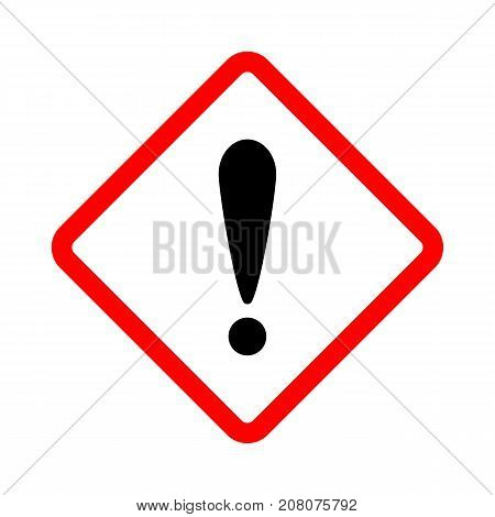 Warning danger sign. Vector illustration. Warning square sign with exclamation mark.