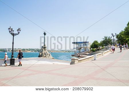 The Black Sea Embankment At The Monument To The Scuttled Ships In Sevastopol