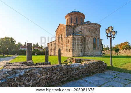PITSUNDA ABKHAZIA SEPTEMBER 19 2017: Ancient Patriarchal Cathedral in honor of the Apostle Andrew in Pitsunda in summer day