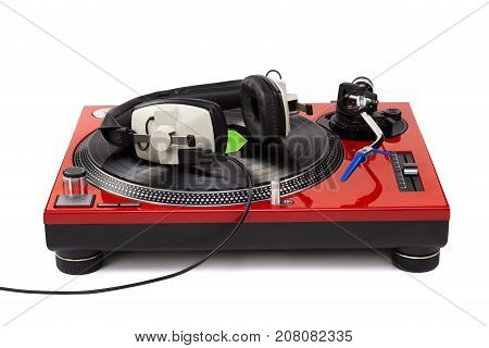 Dj Turntable Playing With Professional Headphones